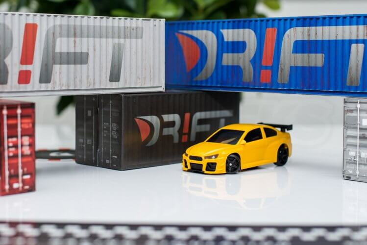 dr!ft scale drift gymkhana review yellow beast front container scene