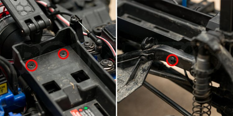 trx4 defender brushless battery tray removal hex screws