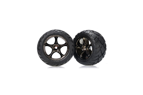 Traxxas Rear Tyres & Wheels Assembled Black Chrome