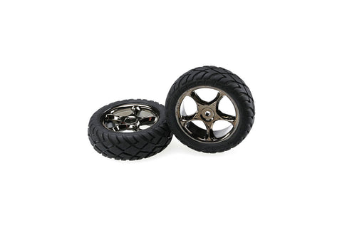 Traxxas Front Tyres & Wheels Assembled Black Chrome