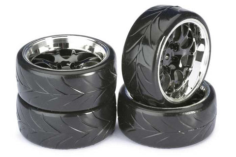 Absima Mesh Wheels With Profile A Drift Tyres Black/Chrome