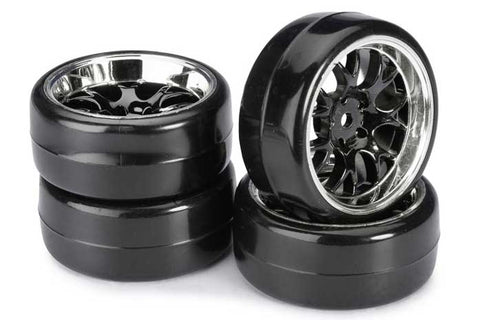 Absima Mesh Wheels With Profile B Drift Tyres Black/Chrome