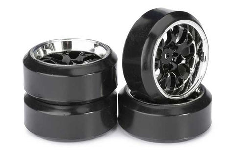 Absima Mesh Wheels With Profile C Drift Tyres Black/Chrome