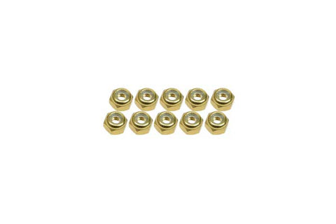 3Racing 4mm Aluminum Lock Nuts Gold 10pcs