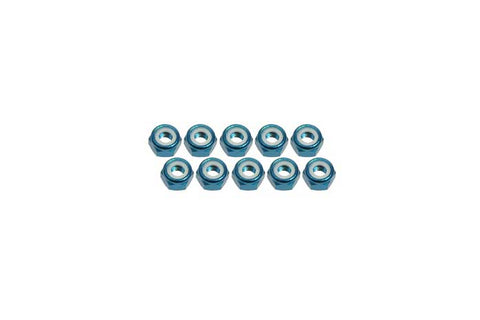 3Racing 4mm Aluminum Lock Nuts Light Blue 10pcs