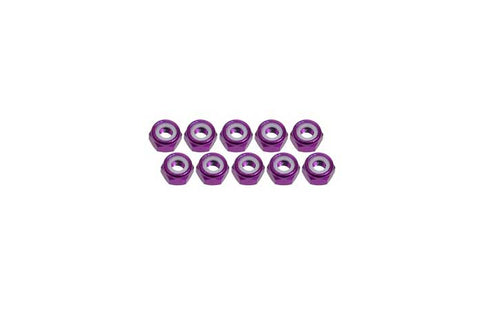 3Racing 4mm Aluminum Lock Nuts Purple 10pcs