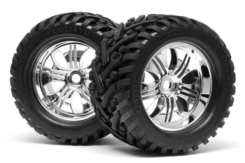 HPI Racing 1/8 Mounted Goliath Tyre on Tremor Wheel Chrome 2pcs