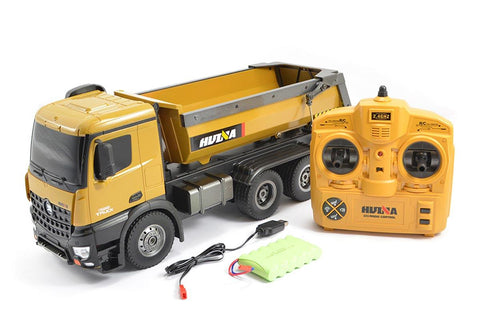 HuiNa 1/14 RC Dump Truck 2.4G 10ch with Die Cast Cab, Bucket & Wheels