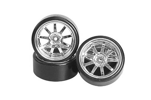 3Racing 9 Spoke Drift Wheel and Tyre Set 5mm 4pcs