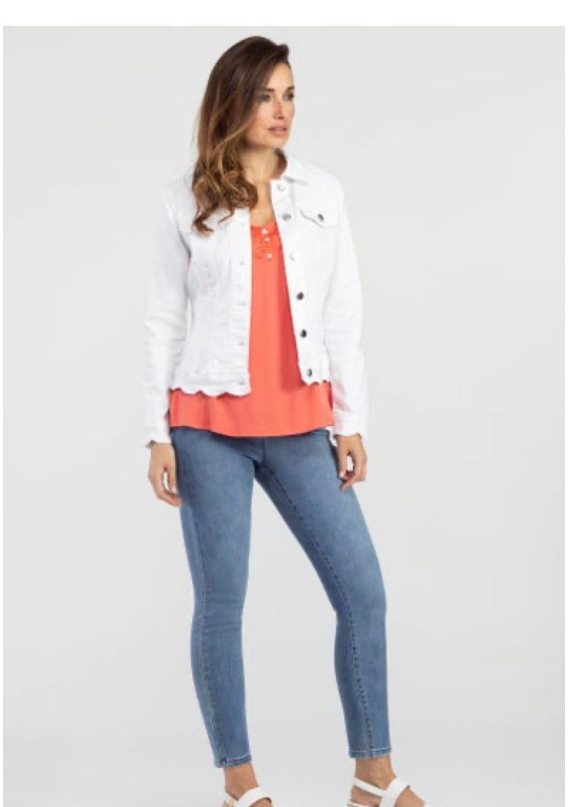 Tribal Scalloped Hem Jean Jacket