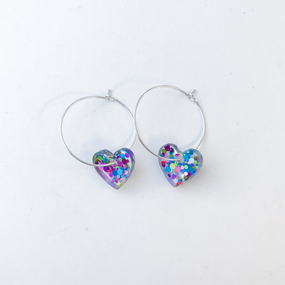 Small Chunky Rainbow Glitter Hearts