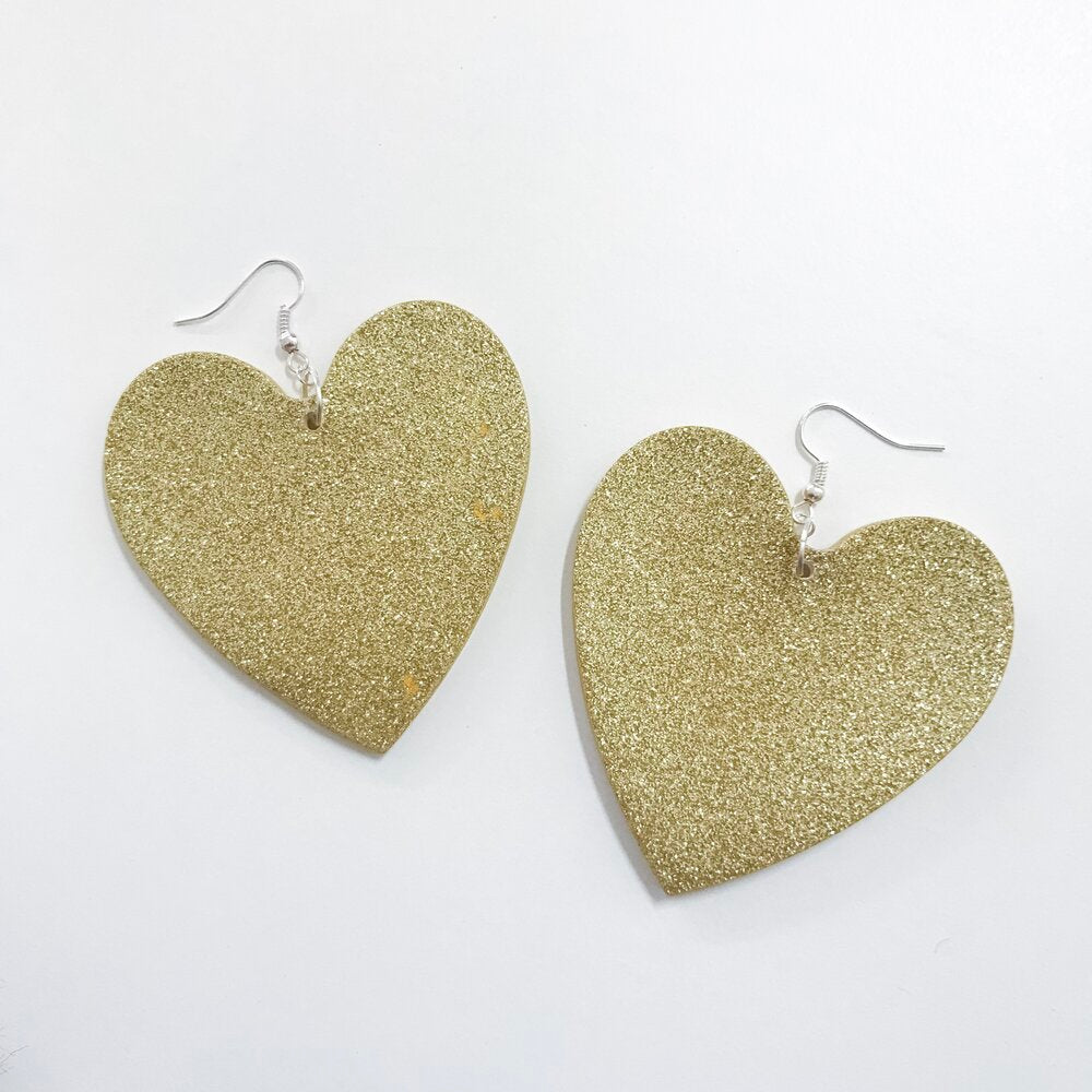 Large Gold Glitter Hearts