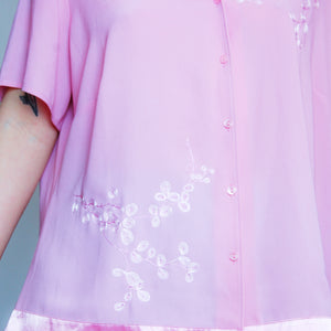 Dusty Pink Embroidered Short Sleeve Blouse