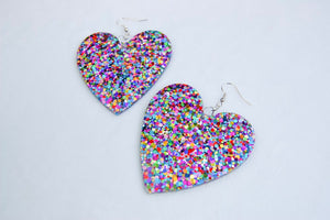 Large Chunky Rainbow Glitter Hearts
