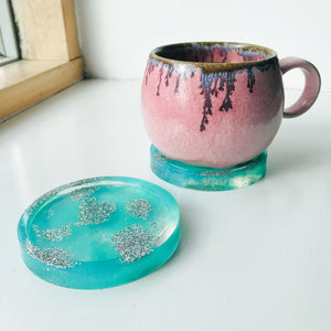 Blue Sparkly Waters Coasters