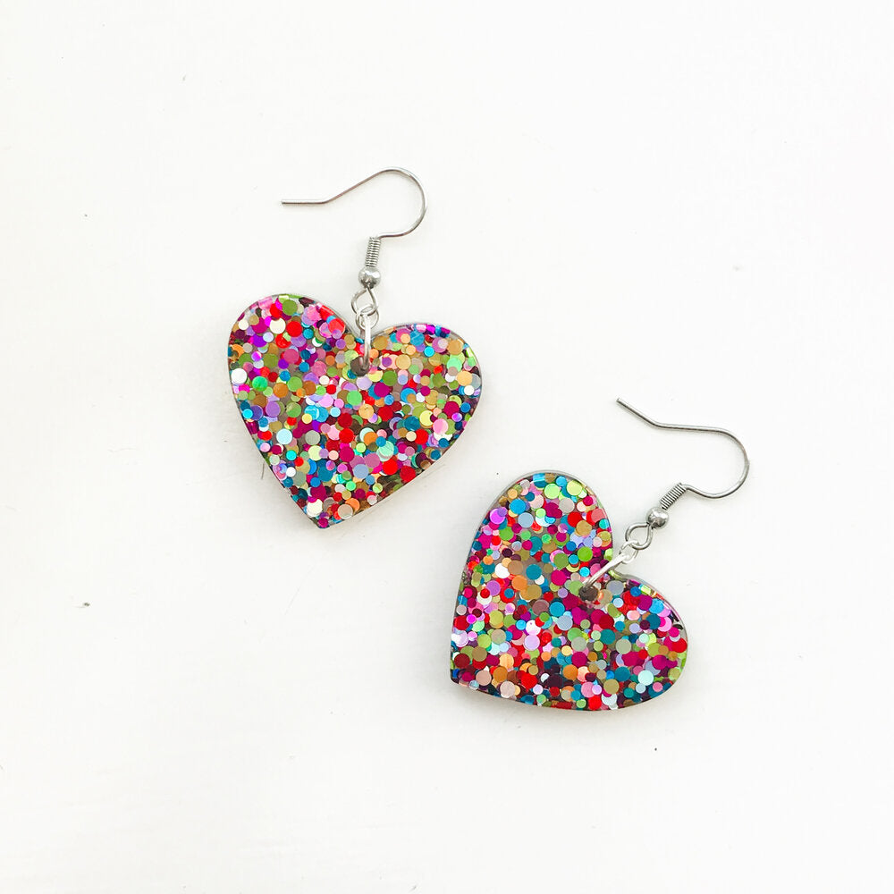 Medium Chunky Rainbow Glitter Hearts