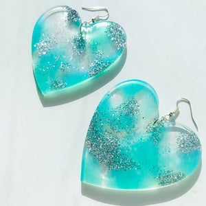 Large Blue Sparkly Waters Hearts