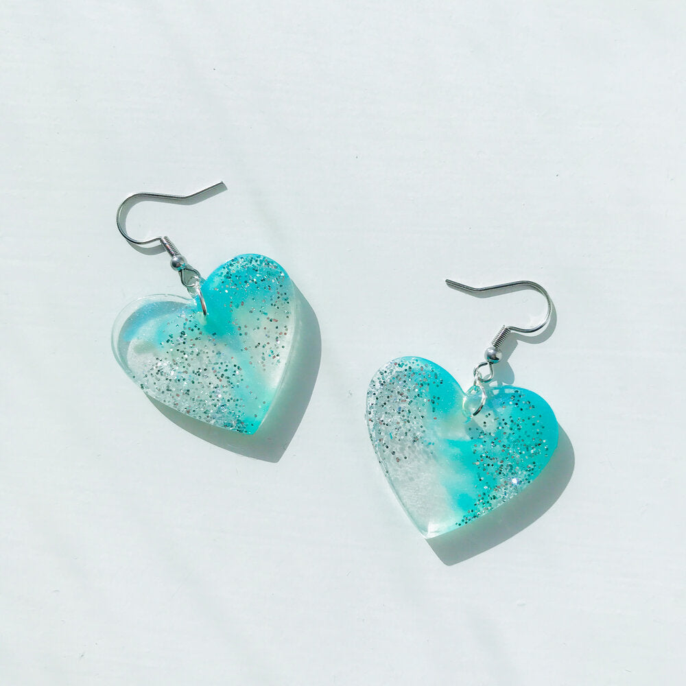 Medium Blue Sparkly Waters Earrings