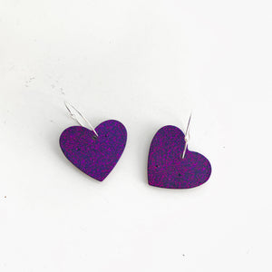 Medium Purple and Pink Glitter Earrings