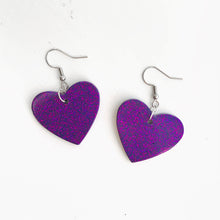 Load image into Gallery viewer, Medium Purple and Pink Glitter Earrings