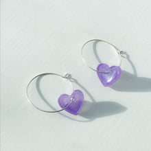 Load image into Gallery viewer, Small Lilac Heart Studs