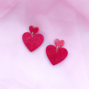 Two Tier Red Glitter Hearts
