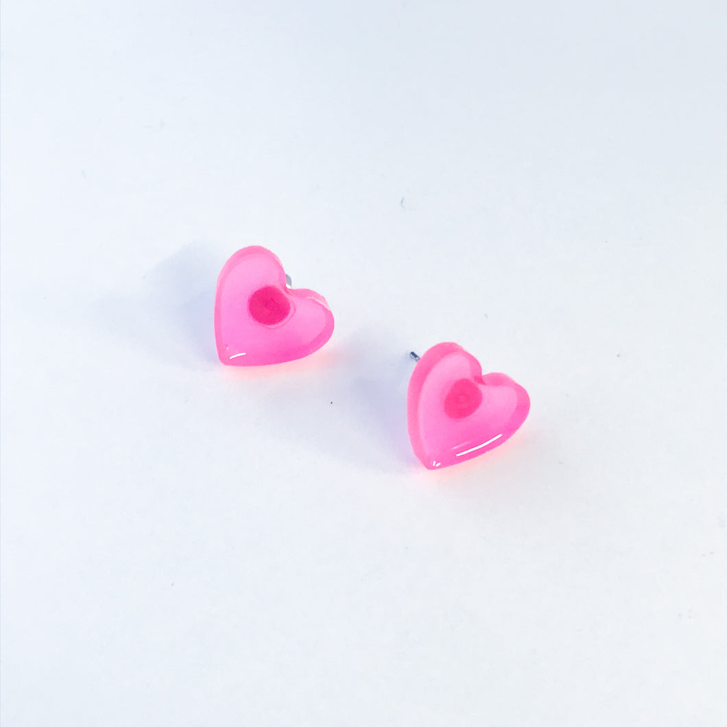 Small Pink Glow in the Dark Heart Studs