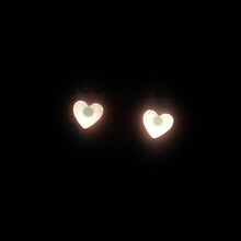 Load image into Gallery viewer, Small Pink Glow in the Dark Heart Studs
