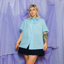 Load image into Gallery viewer, Light Blue Polka Short Sleeve Shirt