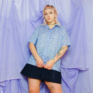 Blue Floral Short Sleeve Shirt