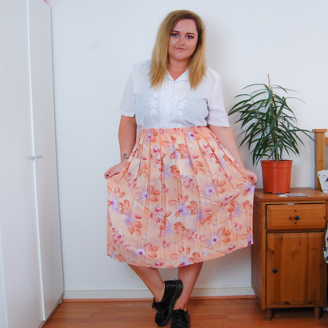 Watercolour Floral Pleat Skirt