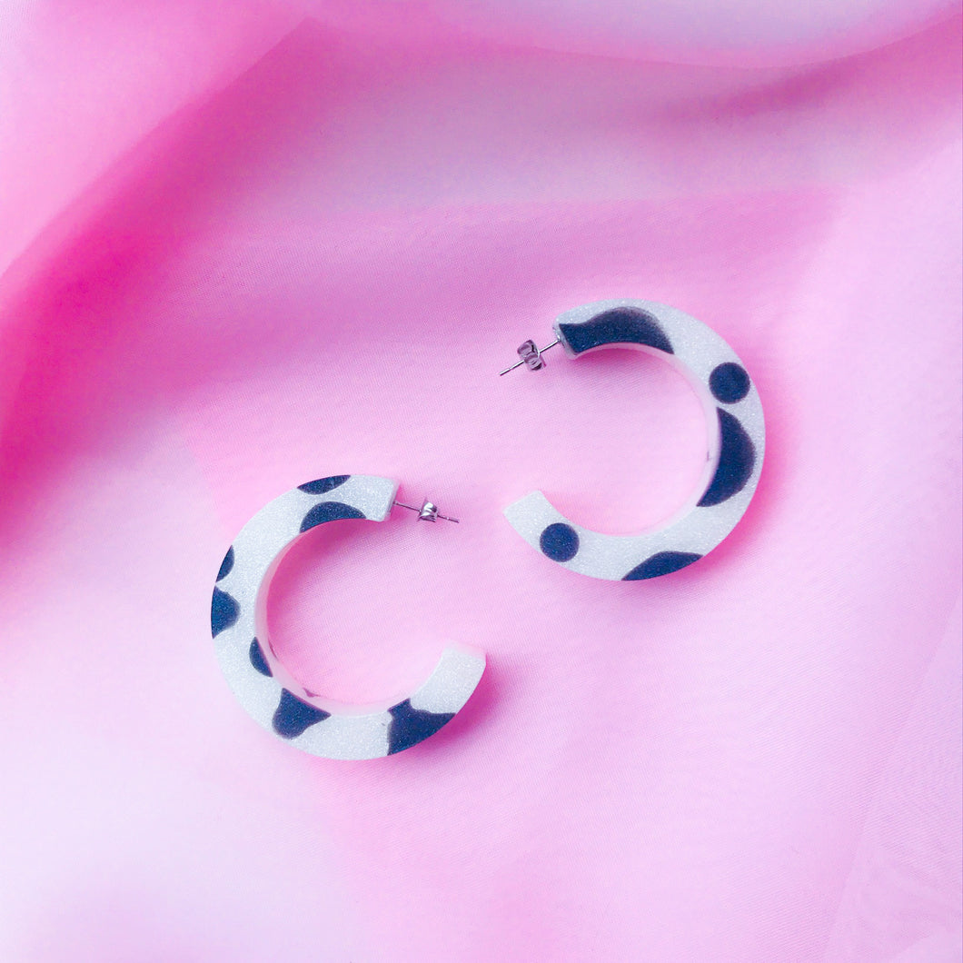 Medium Cow Print Hoops