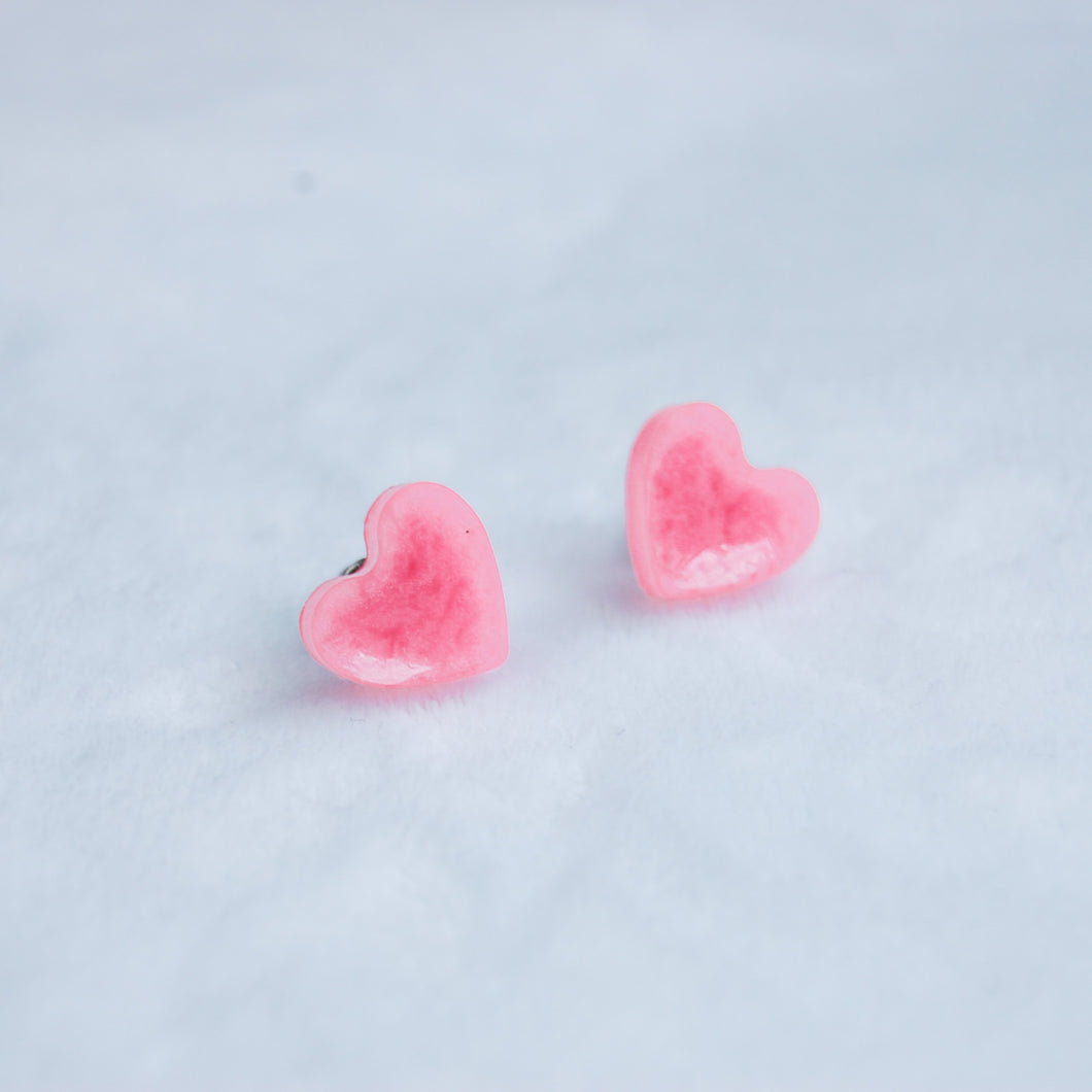 Small Glossy Pink Heart Studs