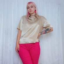 Load image into Gallery viewer, Gold Silky Short Sleeve Blouse