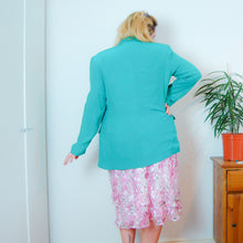 Load image into Gallery viewer, Silk Turquoise Blazer