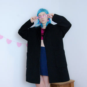Wool/Cashmere Blend Coat with Faux Fur Collar