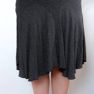 Black Polka Midi Skirt