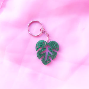 Green Glitter Monstera Leaf Keyring