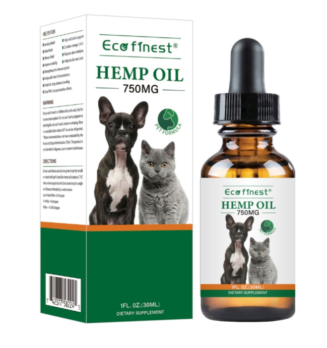 Eco Finest 750MG Hemp Oil Extract For Cats and Dogs