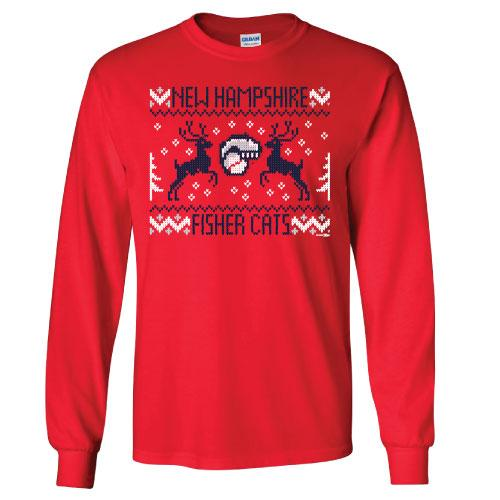 New Hampshire Fisher Cats Ugly Sweater Holiday Long Sleeve Tee
