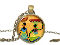 African Women with Basket Yellow Pendant Necklace