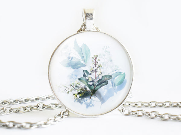 Blue Flowers Necklace, Spring Flowers necklace, Watercoloring floral necklace, Floral Art Pendant, Blue Flowers pendant, Blue Flowers charm, Blue White Pendant, flower charm, gift for women