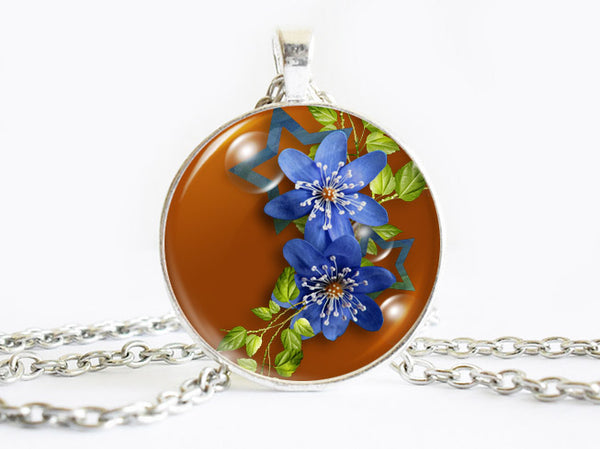 Blue Flowers Necklace, Spring Flowers necklace, Brown Blue Charm, floral necklace, Floral Art Pendant, Blue Flowers pendant, Blue Flowers charm, flower charm, gift for women