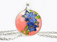 Blue Flowers Necklace, Spring Flowers necklace,floral necklace, Floral Art Pendant, Blue Flowers pendant, Blue Flowers charm, flower charm, gift for women