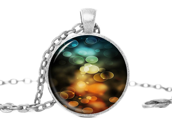 Blue Green Yellow Orange Abstract Necklace
