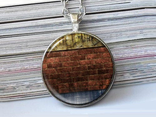 Red Brick Wall Necklace, Brick Wall Necklace, Digital art pendant, Blue Green Red Necklace, Photo Pendant, Abstract pendant, Digital pendant
