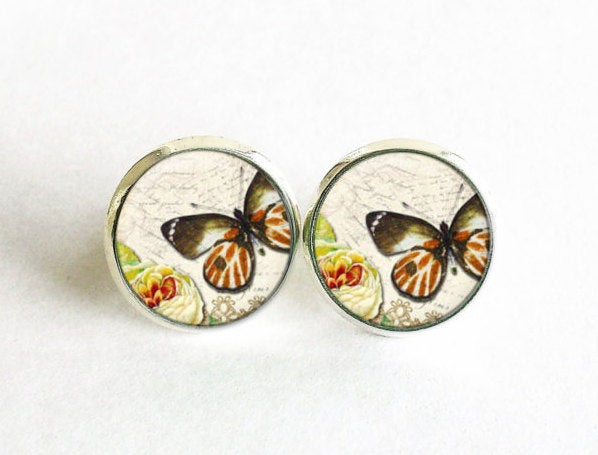 Butterfly Studs, Little Butterfly Earrings, Brown White Butterfly post Earrings, White brown Studs,Animal earrings, Gift for women