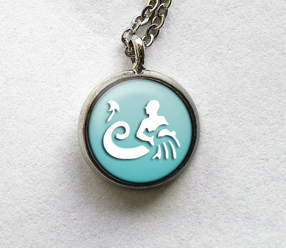 Aquarius Necklace, Aquarius Pendant, Astro Charm, Astro Jewelry, Aquarius Jewelry, Aquarius Zodiac Pendant , Aquarius Glass Art Pendant