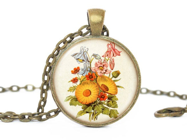 Flower Necklace, Bouquet Necklace, Flower Bouquet Pendant, Bouquet charm,Floral Necklace, Floral Pendant, Floral Charm, Gift for Women