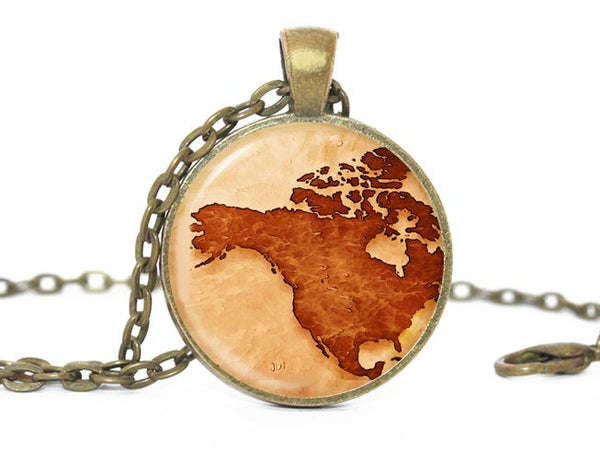 World map America necklace, America pendant, Canada pendant, World map, America Necklace, America Map Necklace, Maps Jewelry, Canada Jewelry